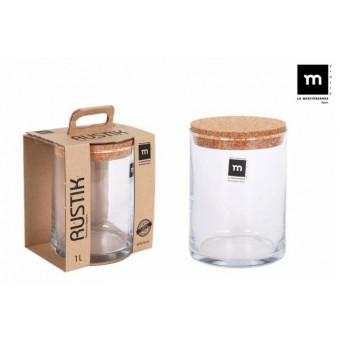 Indas stikl. s/d kork 1L 11*16cm RUSTIK ECO75006