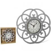 Laikrodis plast. sieninis 36cm sidabr.CLASICO