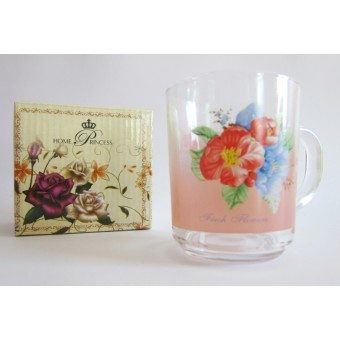 Puodukas stikl. 250 ml (dekoras gėlės) TZB24