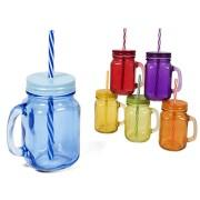 Puodukas stikl. 430ml s/d ir šiaudeliu spalv. GINA