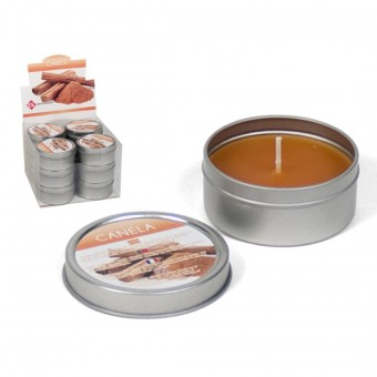 Žvakė met. indelyje 6*6*3cm 40gr aroma Cinamon