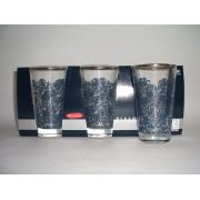 Stiklinės 300ml 3vnt. 136002 dekoruotos kūgis