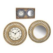 Laikrodis + veidrodis sieninis 30.5cm RETRO