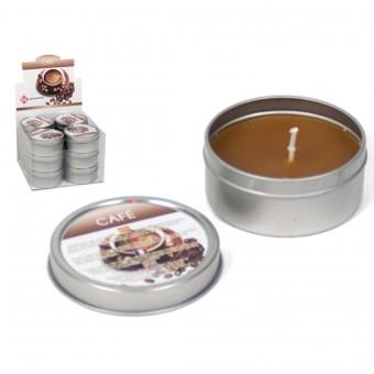 Žvakė met. indelyje 6*6*3cm 40gr aroma Coffe